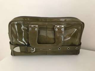 Authentic Cue Patent Leather Handbag - Army Green
