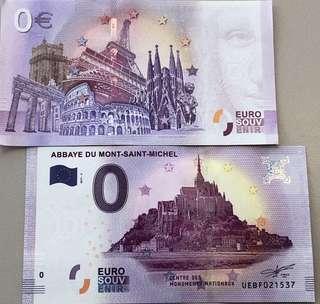 🚚 法國帶回 聖米歇爾山 0元歐元紀念鈔