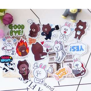 🚚 [In stock] 40pcs Lovey Dovey Brown & Cony Scrapbook Sticker pack