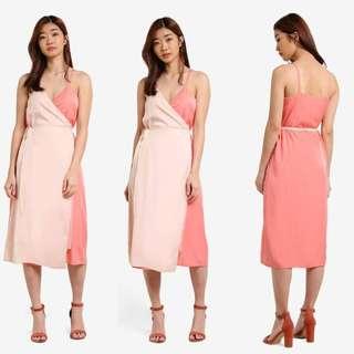 BNWT BNIP Zalora Colourblock Wrap Cami Dress Pink & Ivory Midi Office ✔