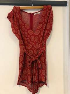 Red patterned playsuit