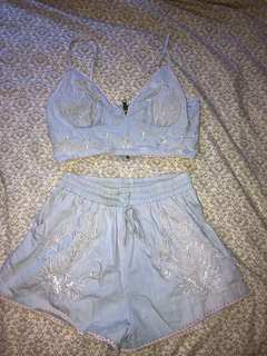 Baby blue embroidered set