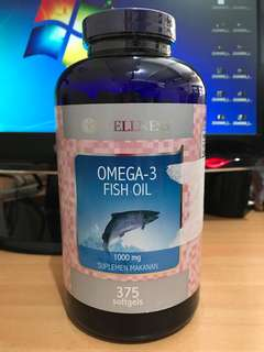 375 softgels Wellness Omega-3 Fish Oil 1000mg Suplemen Makanan Natural