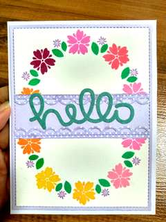 Handmade card for all occasions (birthday, thank you, friendship, miss you) - Hello amidst flower ring