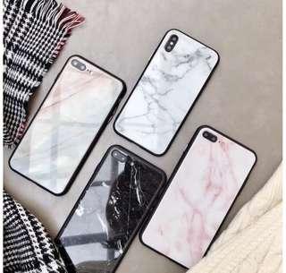 玻璃面雲石手機殻 IPhone X/7P/8P/6P/6sP黑白兩色