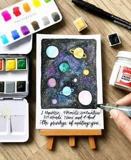 Galaxy planets calligraphy card