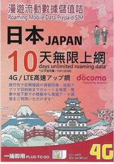 日本10日4G無限上網卡 (首10GB 4G其後3G無限)  *網絡供應商:DOCOMO