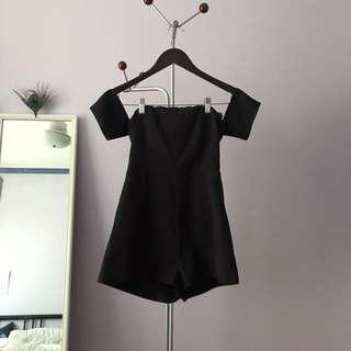 Black off the shoulder playsuit