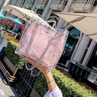 Women Jelly Transparent Bucket Shoulder Bag Chain Handle Ladies Fashion Bag [Pink/White/Black/Beige]
