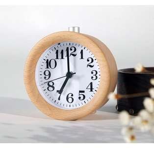 (156) WAYCOM Classic Silent Small Wood Alarm Clock Bedside Alarm Clock with Nightlight (Wooden)