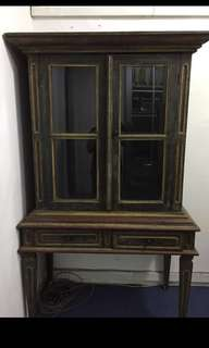 Antique vintage wooden display cabinet