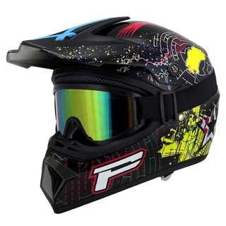 Black Multi Colour Patterned Full Face Motorcycle Helmet Scrambler Motorcross Motocross Scrambler Off Road Dirt Bike