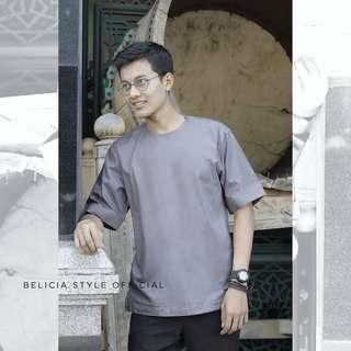 Sultana Grey - Baju Koko Collar less