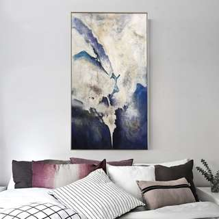 🚚 Blue Abstract Art Oil Painting 70cm x 140cm