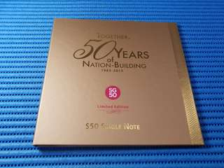 2015 Singapore 50 Years of Nation Building 1965-2015 SG50 $50 Commemorative Note with special prefix SG50 032399