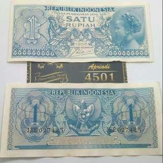 Uang kuno /Uang lama (1 Rupiah seri suku bangsa gadis jawa) thn 1956