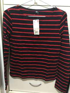 Uniqlo Striped Boat Neck XS