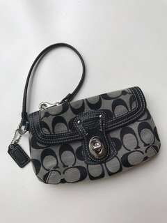 COACH black gray logo mini zipper purse/bag. Brand new
