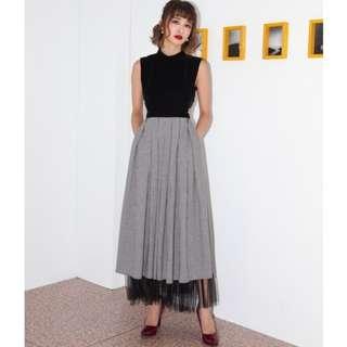 (徵) MARJORIE 夜巴黎,小立領格紋拼紗簍空露背洋裝