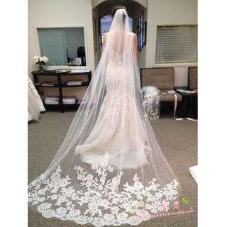 Wedding Collection - Romantic 3 Meter Long Embroidered Lace Veil