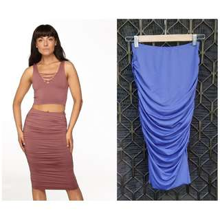 Supre Cobalt Blue Midi Skirt Bodycon Ruched Side Tight Slinky Navy
