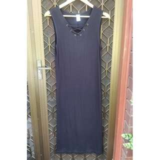 Black midi maxi dress cut out detail criss cross tie up chest tunic smock