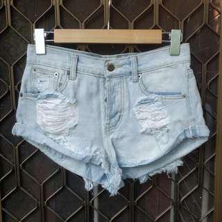 POPCHERRY light blue denim cut offs distressed frayed short shorts showpo stelly