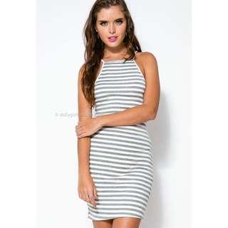 DOLLYGIRLFASHION Paradise Dress Grey White Striped Mini Dress High Neck Strappy