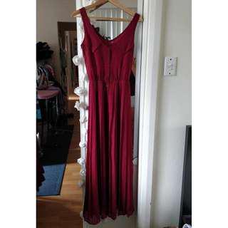 SHOWPO Sheer Dress Maroon Red Chiffon Maxi Pleated Skirt Split Princess Polly
