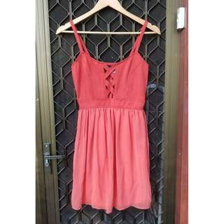 STELLY Orange Cut Out Mini Dress Fit And Flare Chiffon Criss Cross Detail Showpo