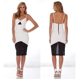 PASDUCHAS Neutralize Midi Dress Mesh Detail Cut Out Strappy Bodycon Black White
