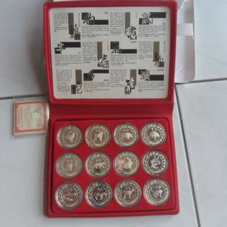 1981-1992 Singapore Lunar 1st Series $10 Silver Proof Coin. (Lot of 12 coins)