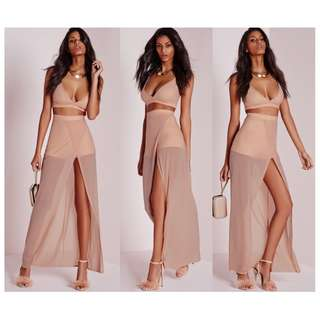 MISSGUIDED maxi shorts nude sheer mesh detail bossa house of cb hotmiamistyles
