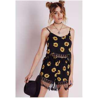 MISSGUIDED sunflower shorts crochet trim black floral festival boho showpo