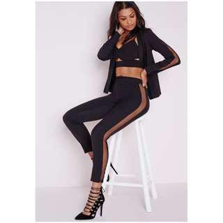 MISSGUIDED black tailored trousers sheer mesh side pants kylie jenner meshki