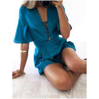 RUNAWAY Carly Satin Playsuit Romper One Piece Ocean Turquoise Blue Green