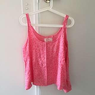 Pink leopard print singlet