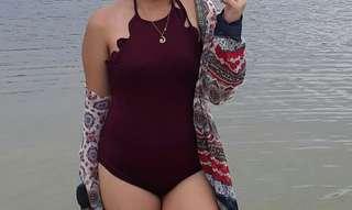 Maroon Scallops One Piece Swimsuit