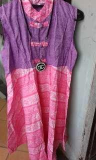 Dress batik UK L, LD 96 Cm, Pjg 110 Cm