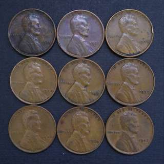 林肯美金一仙 9枚順年代(1934-1942)硬幣