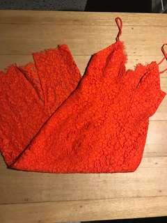 Bardot red lace midi dress