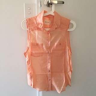 Orange open back singlet shirt