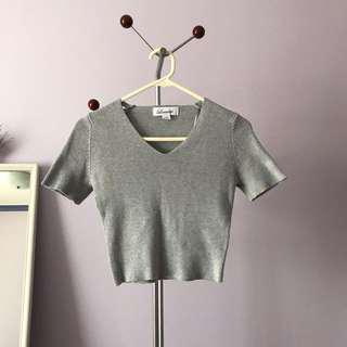 Grey wooden crop top