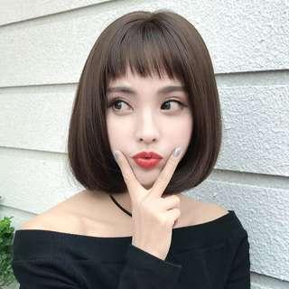 🚚 假发女短发 修脸蓬松bobo头圆脸自然短卷发可爱韩国波波头短发套