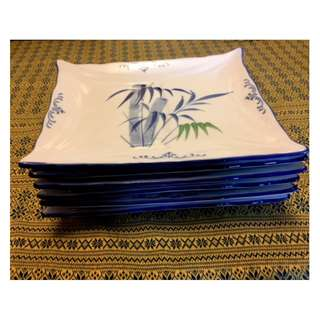 Bamboo style plates x 6