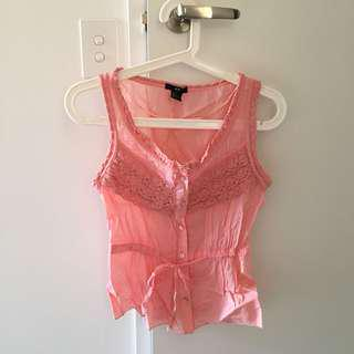 H&M pink lace details top