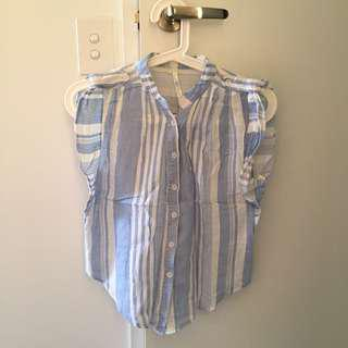 Blue and white stripe top