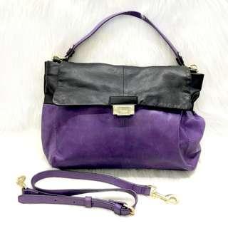 Salad 黑 x 紫色真皮手袋