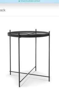 Black glass metal side table