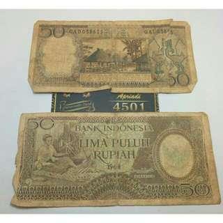 Uang lama /uang kuno (50 Rupiah seri pekerja) thn 1964